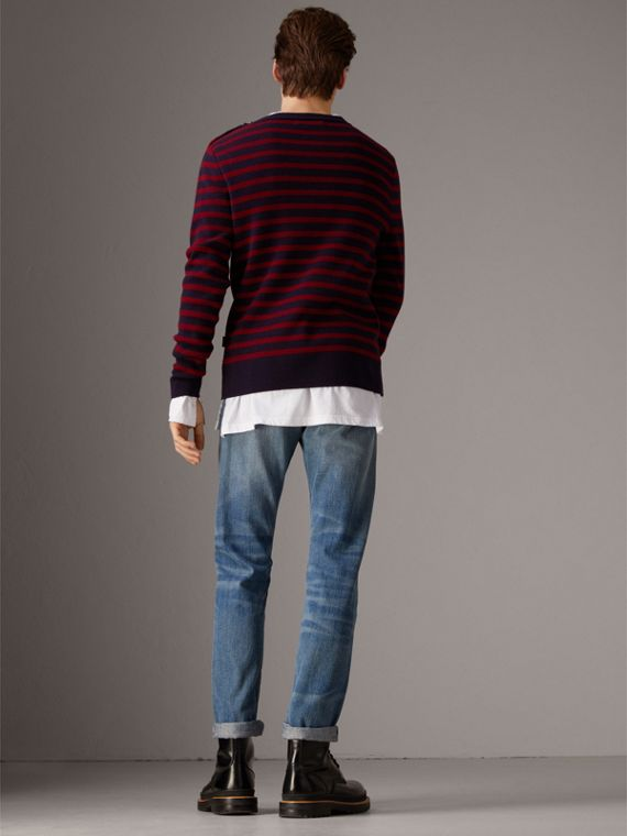 Bird Button Breton Stripe Wool Cashmere Sweater in Navy/deep Claret - Men | Burberry - cell image 2