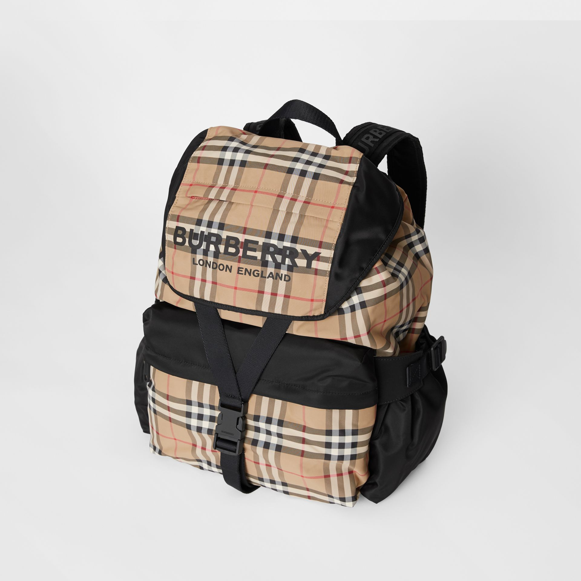 Logo Print Vintage Check Backpack in Archive Beige - Women | Burberry Singapore - gallery image 3