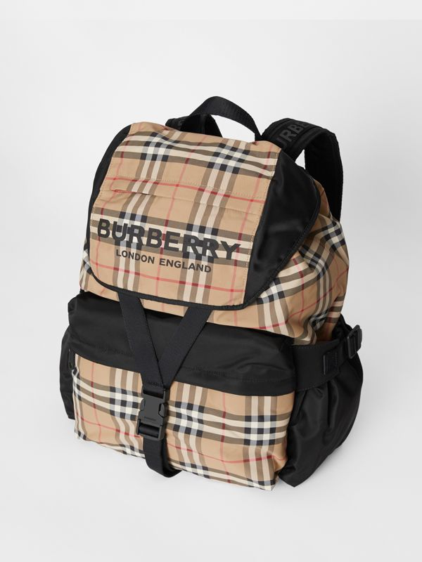 Logo Print Vintage Check Backpack in Archive Beige - Women | Burberry Singapore - cell image 3