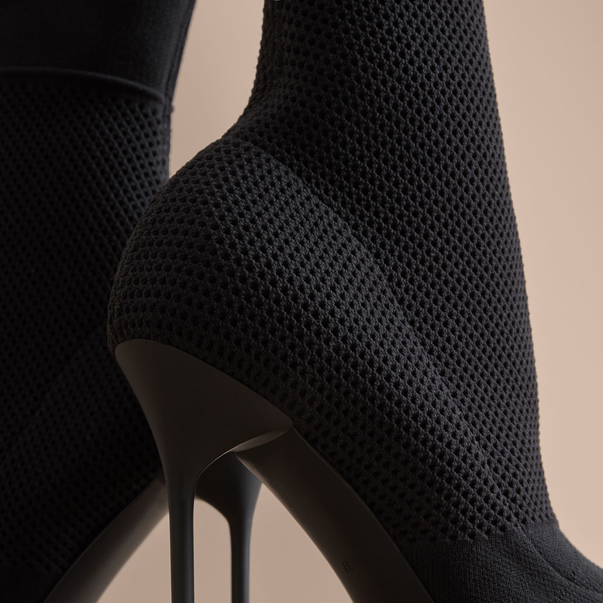 Mid-calf Knitted Mesh Boots in Black - Women | Burberry - gallery image 5