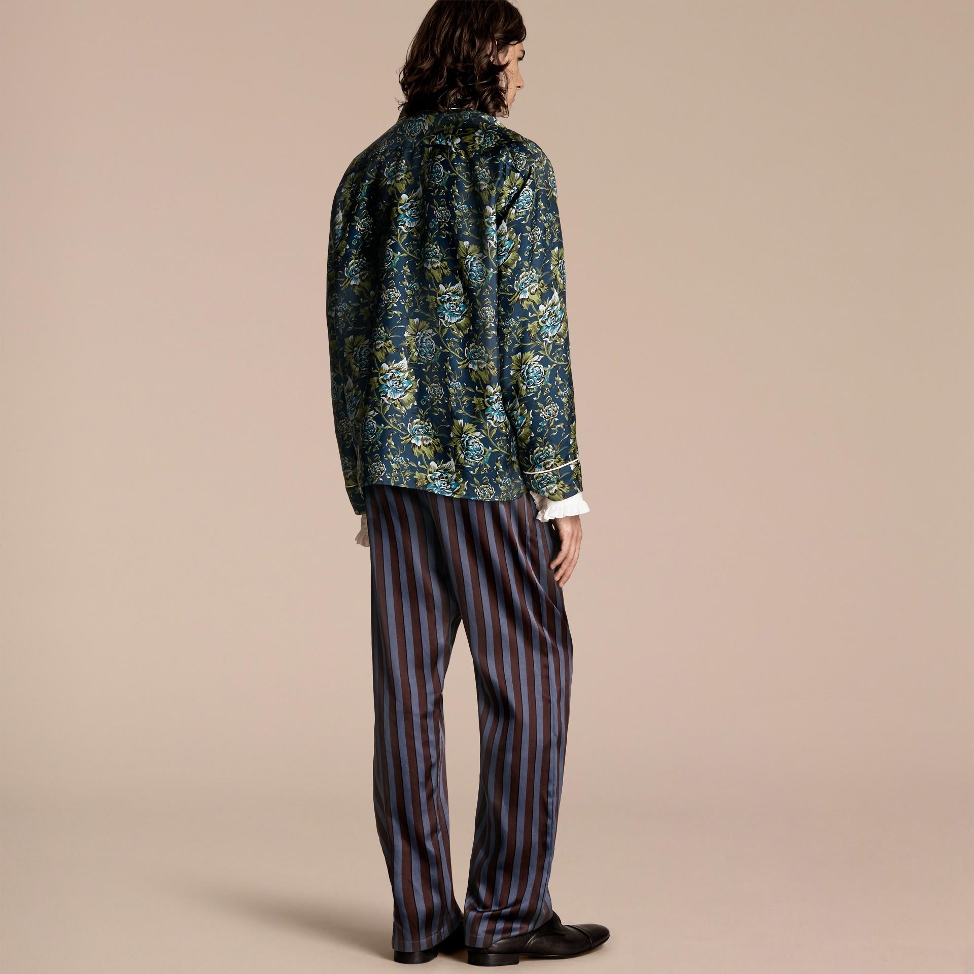 Peony Rose Silk Twill Pyjama-style Shirt - gallery image 3