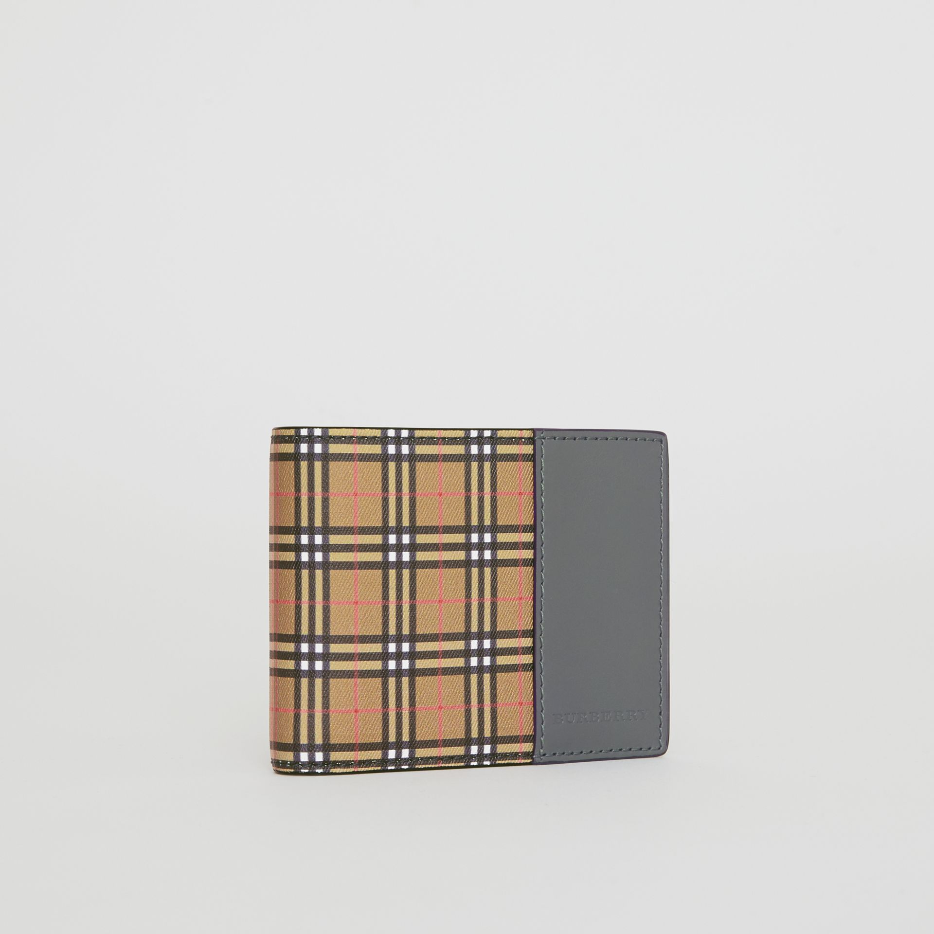 Small Scale Check and Leather Bifold Wallet in Antique Yellow/dark Grey - Men | Burberry United States - gallery image 4