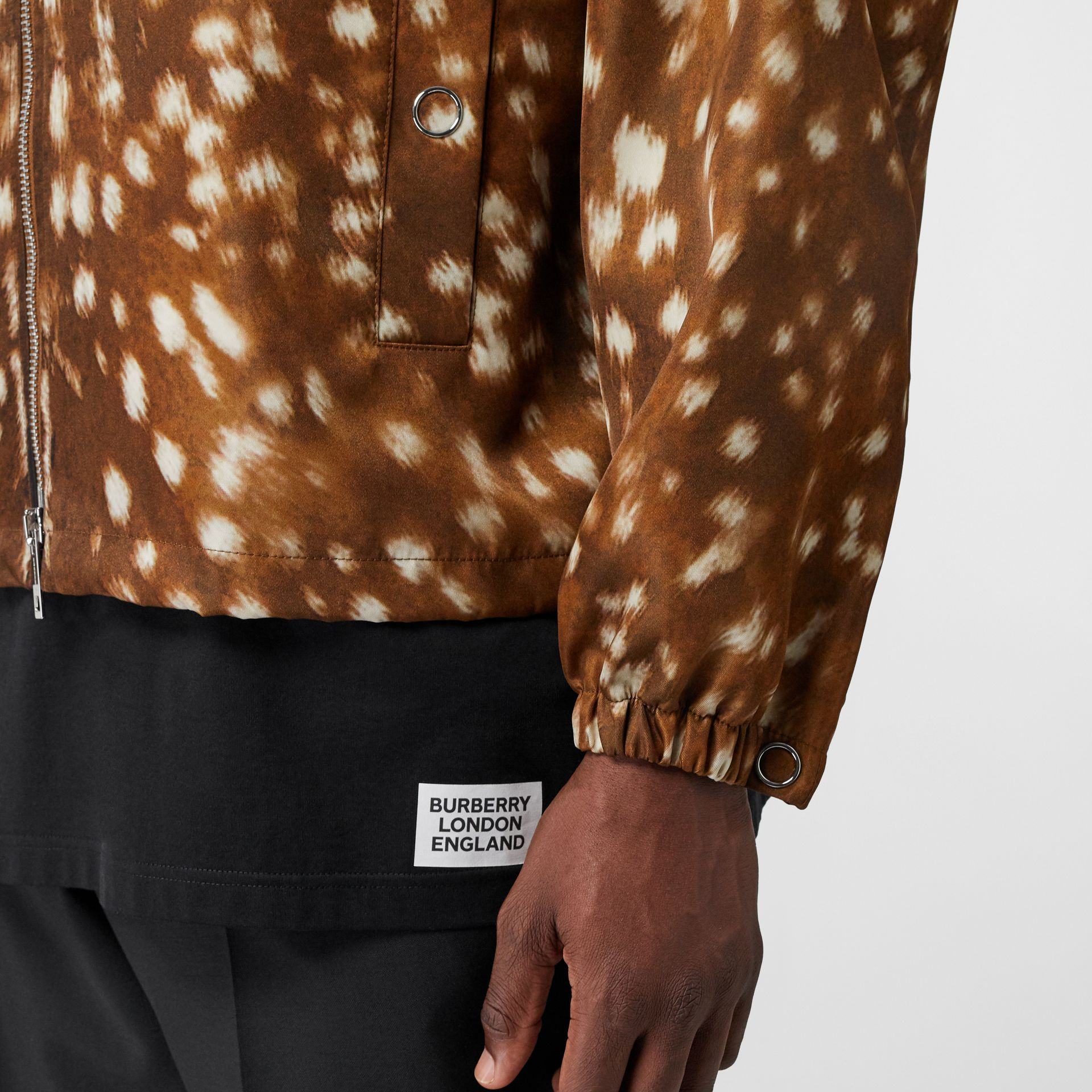 Deer Print Nylon Hooded Jacket in Honey - Men | Burberry Australia - gallery image 4