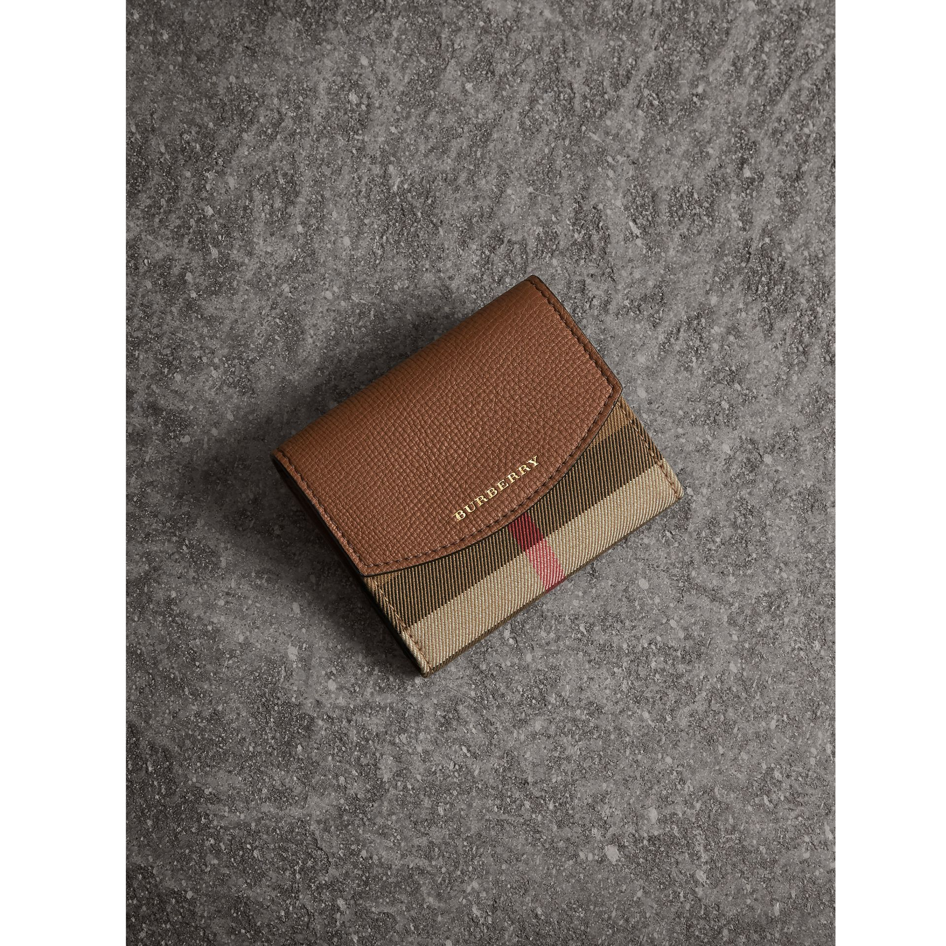 House Check and Leather Wallet in Tan - Women | Burberry Singapore - gallery image 1