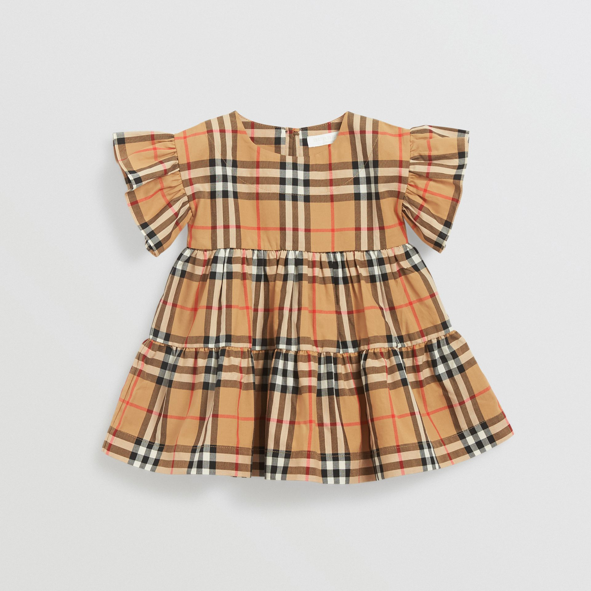 Ruffle Detail Vintage Check Dress with Bloomers in Antique Yellow - Children | Burberry - gallery image 0