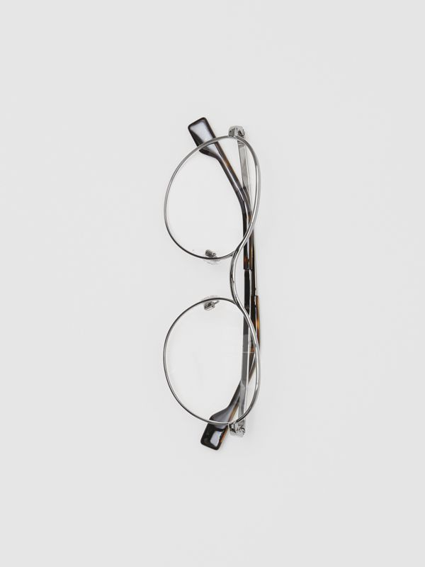Round Optical Frames in Gunmetal Grey - Women | Burberry - cell image 3