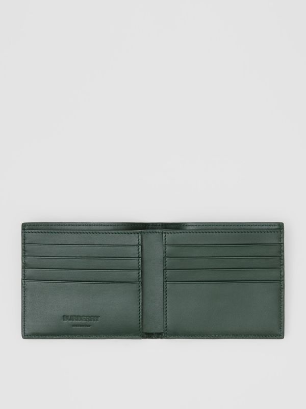 Monogram Leather International Bifold Wallet in Dark Pine Green - Men | Burberry - cell image 2
