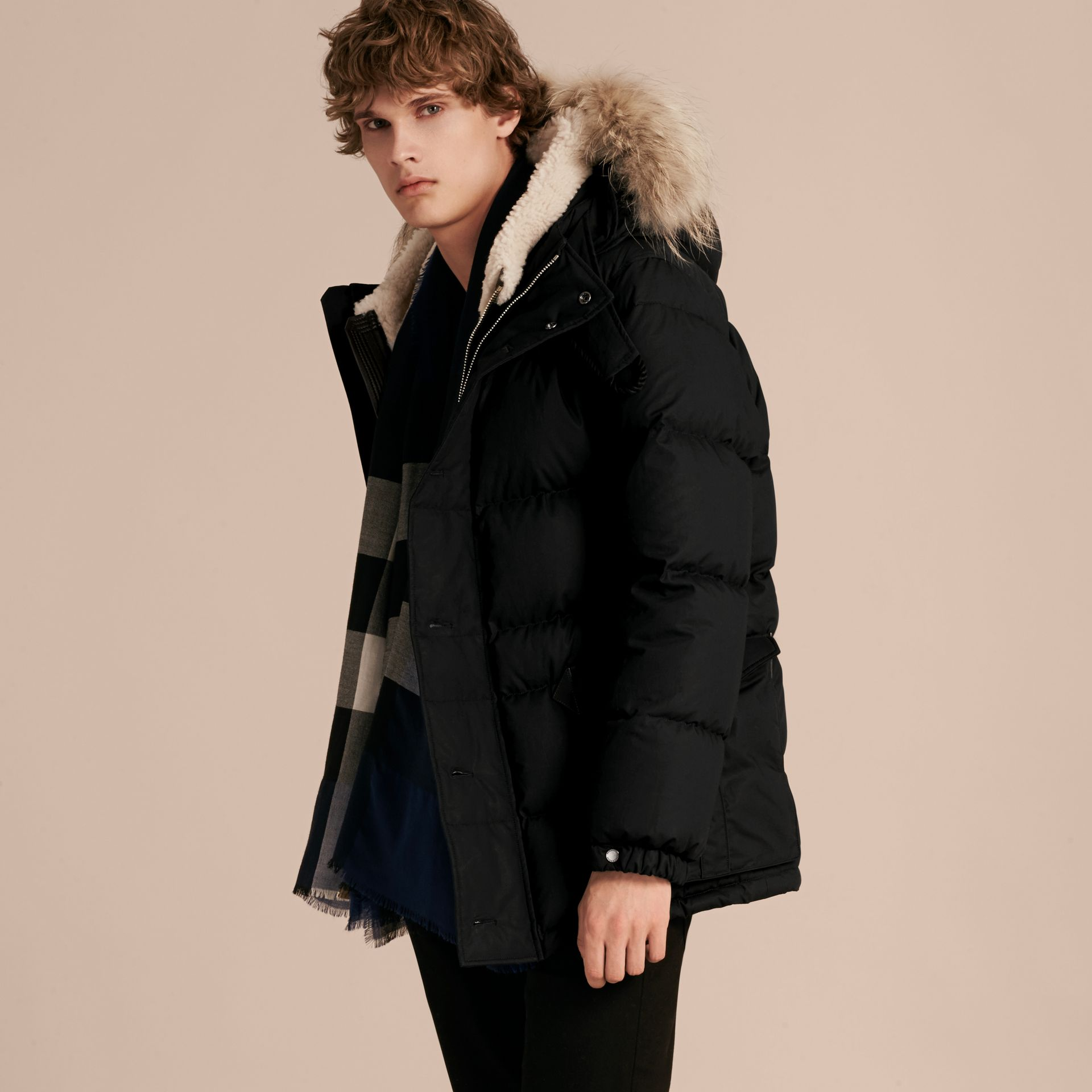 Black Shearling Trim Down-filled Coat with Raccoon Fur Hood - gallery image 5
