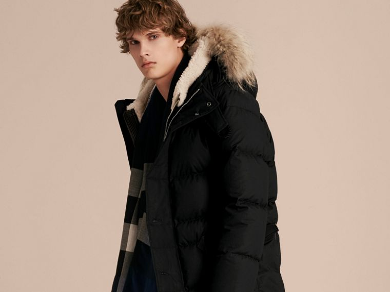 Black Shearling Trim Down-filled Coat with Raccoon Fur Hood - cell image 4