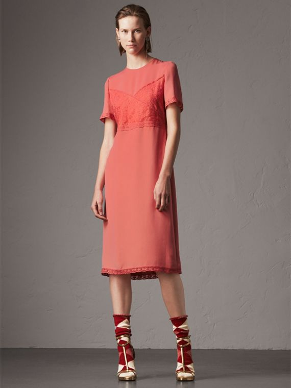 Chantilly Lace Detail Silk Crepe Marocain Dress in Coral Red