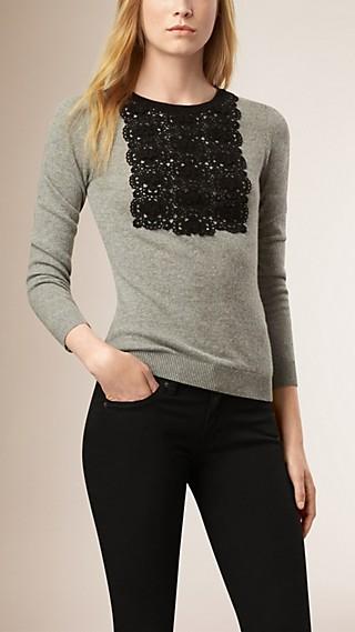 Lace Detail Cashmere Cotton Sweater