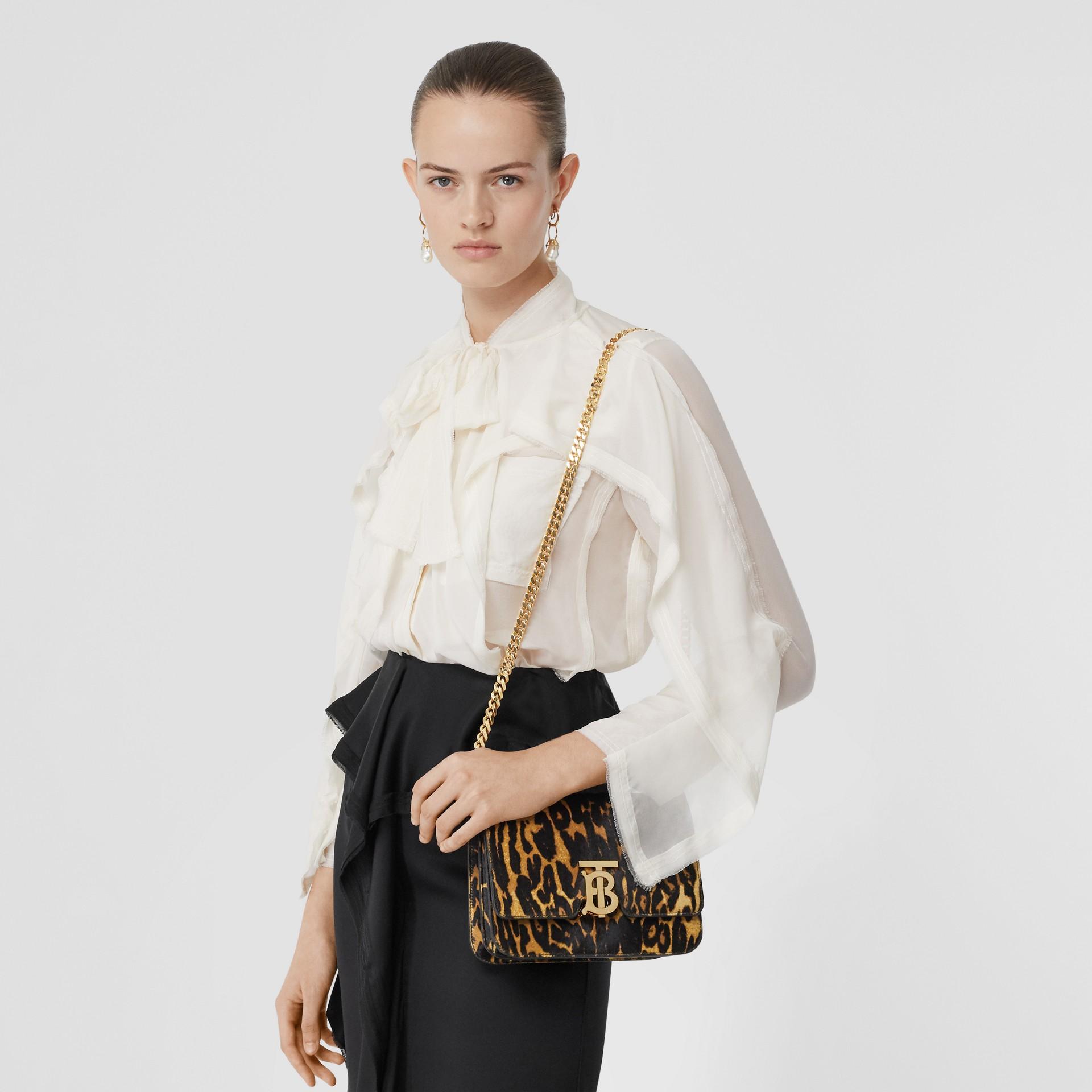 Small Leopard Print Calf Hair TB Bag in Dark Mustard - Women | Burberry Hong Kong S.A.R - gallery image 2