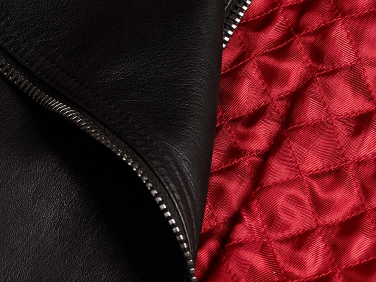 Lived-in Lambskin Biker Jacket with Detachable Warmer - cell image 1
