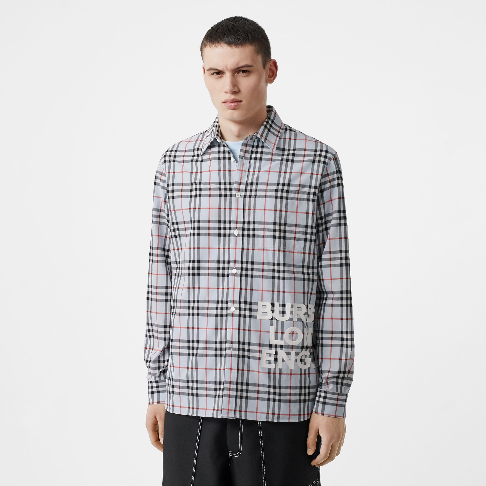 Logo Print Check Cotton Oversized Shirt in Pale Blue - Men | Burberry - gallery image 0