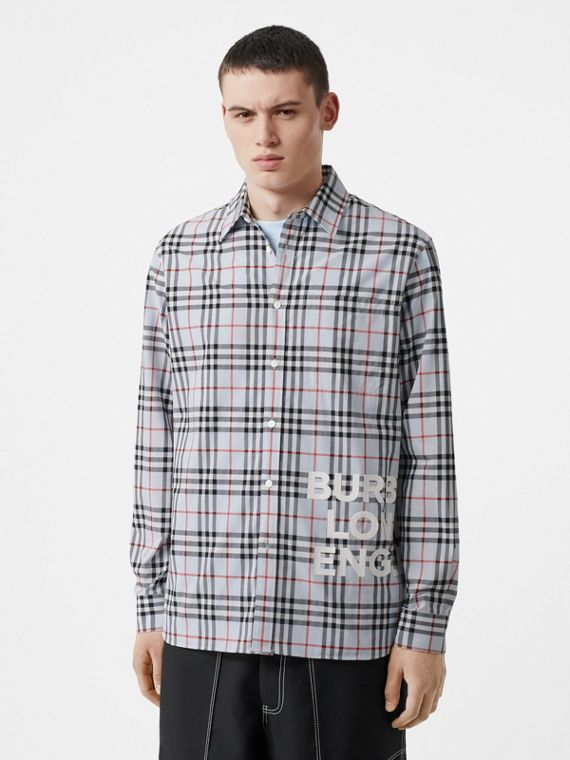 Logo Print Check Cotton Oversized Shirt in Pale Blue