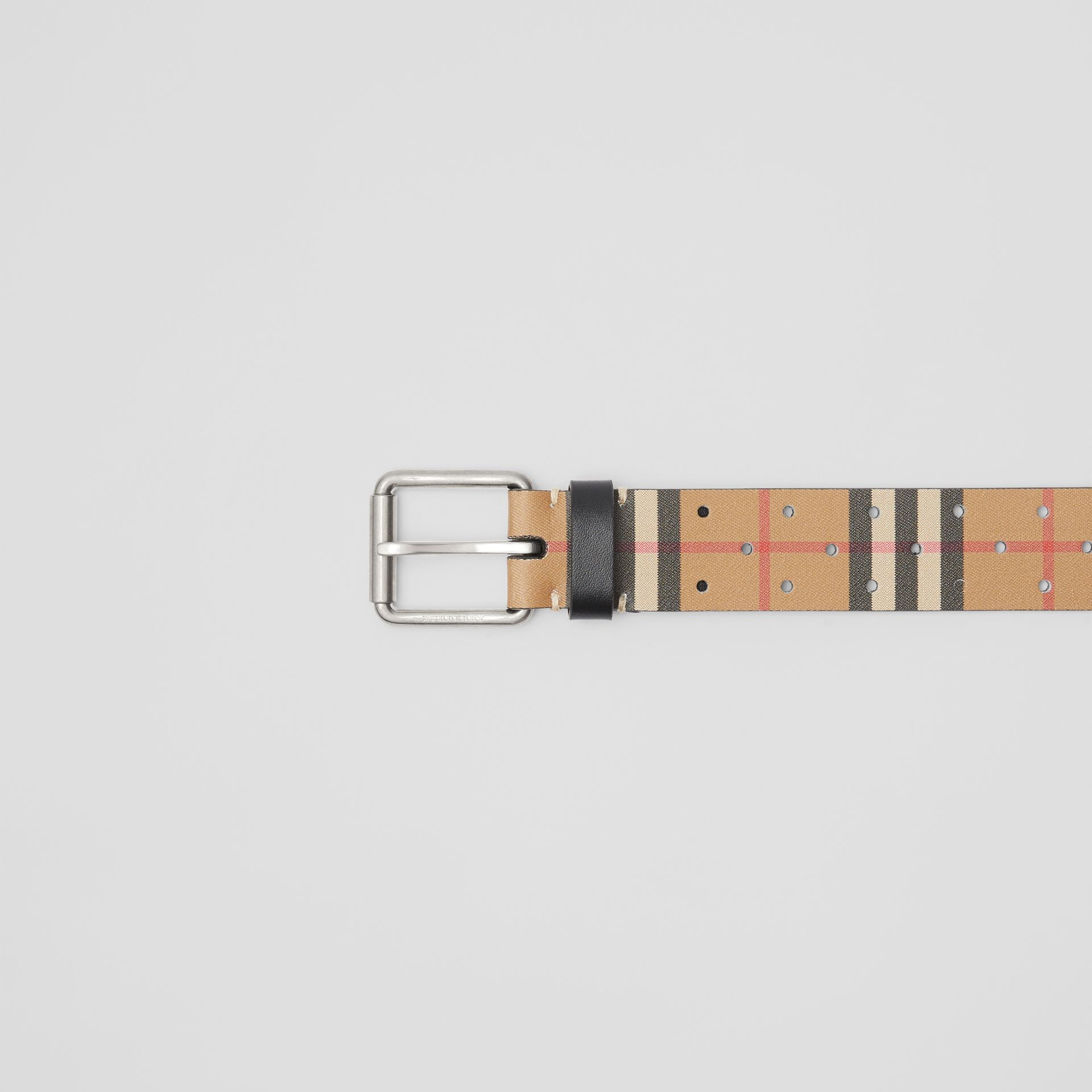 Perforated VIntage Check Leather Belt in Antique Yellow - Men | Burberry Australia - gallery image 1