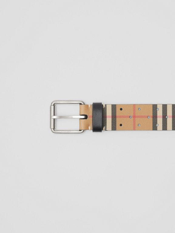 Perforated VIntage Check Leather Belt in Antique Yellow - Men | Burberry Singapore - cell image 1