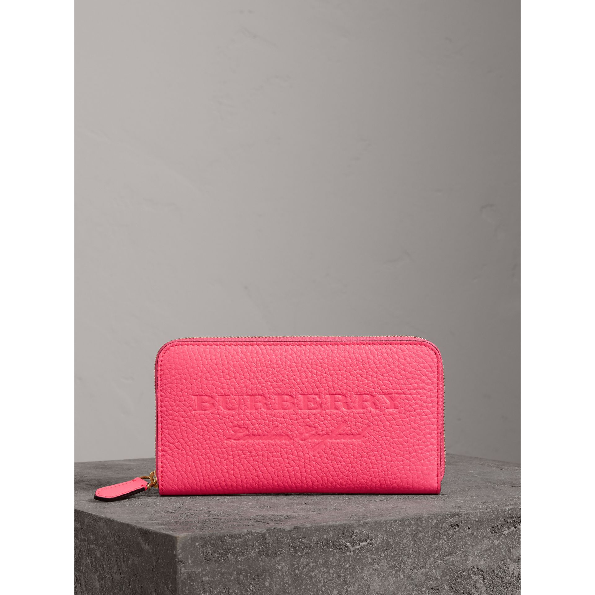 Embossed Leather Ziparound Wallet in Bright Pink - Women | Burberry - gallery image 4