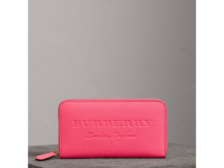 Embossed Leather Ziparound Wallet in Bright Pink - Women | Burberry United Kingdom - cell image 4