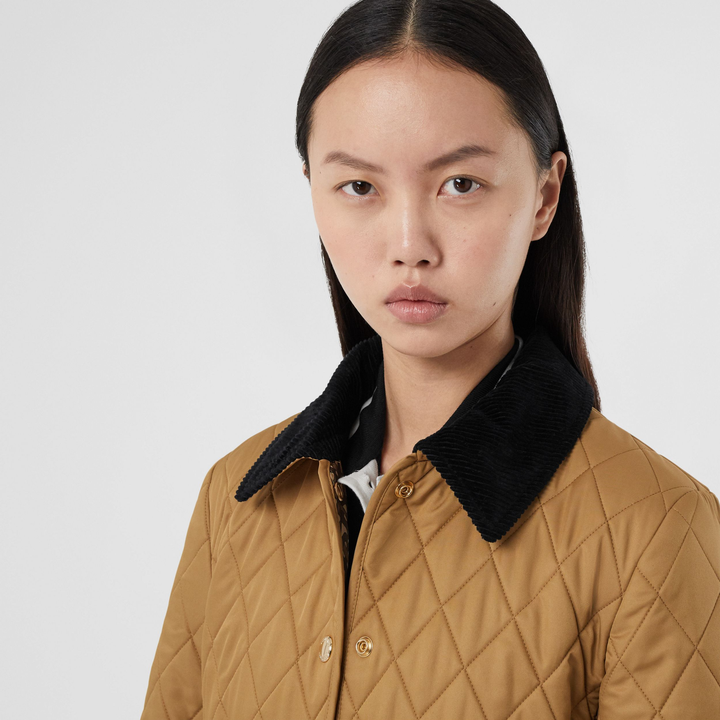 Corduroy Collar Diamond Quilted Barn Jacket in Camel - Women | Burberry Hong Kong S.A.R. - 2