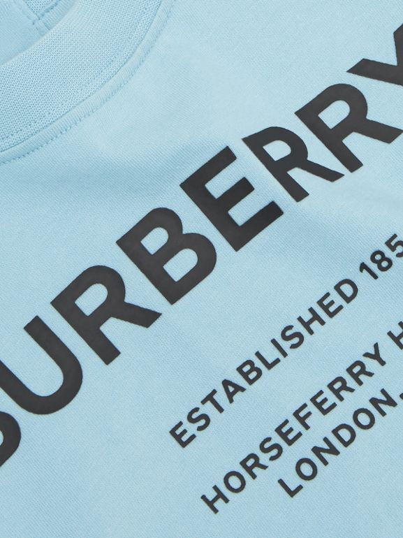 Long-sleeve Horseferry Print Cotton Top in Powder Blue - Children | Burberry - cell image 1