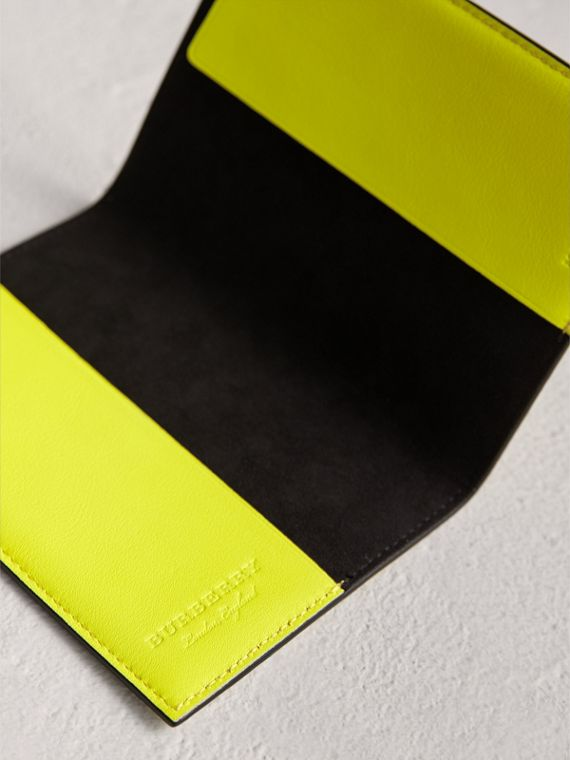 Embossed Leather Passport Holder in Bright Yellow | Burberry - cell image 3