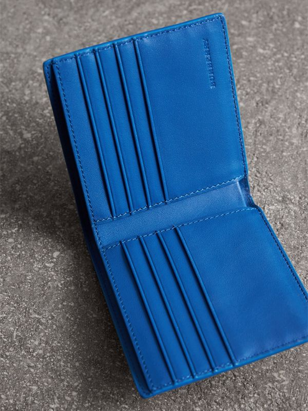 London Check and Leather International Bifold Wallet in Navy/ Blue - Men | Burberry - cell image 3
