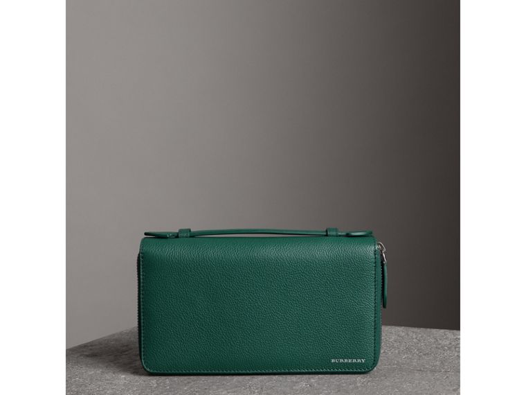 Grainy Leather Travel Wallet in Dark Cyan - Men | Burberry - cell image 4