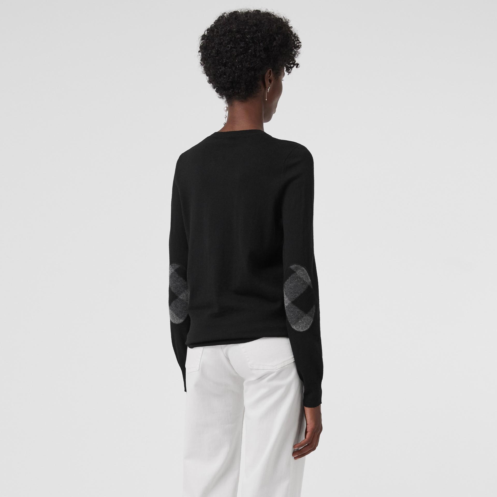 Check Detail Merino Wool Crew Neck Sweater in Black - Women   Burberry Canada - gallery image 2