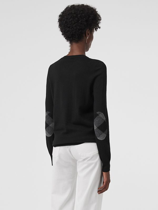 Check Detail Merino Wool Crew Neck Sweater in Black - Women   Burberry Canada - cell image 2