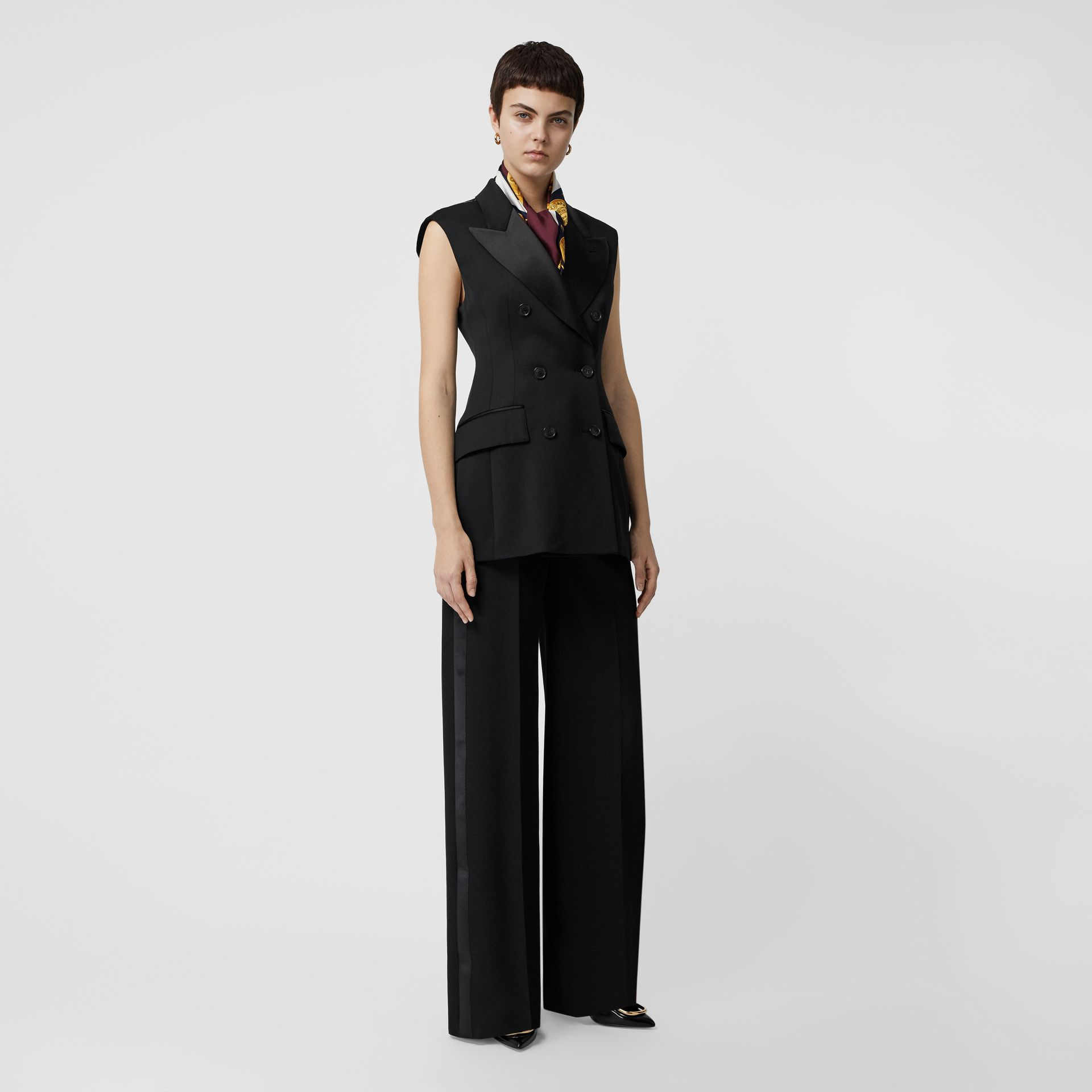 Sleeveless Stretch Wool Double-breasted Jacket in Black - Women | Burberry Australia - gallery image 0