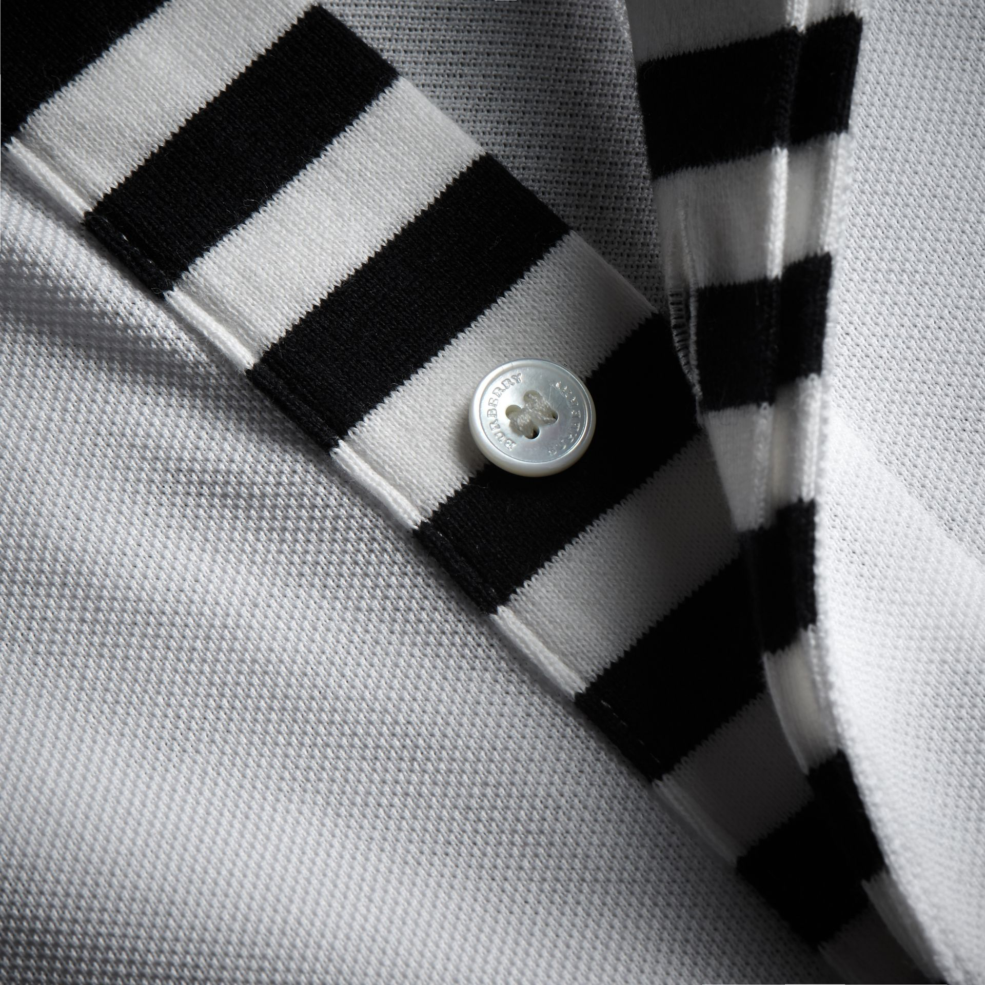 Striped Placket Cotton Piqué Polo Shirt in White - Men | Burberry - gallery image 2