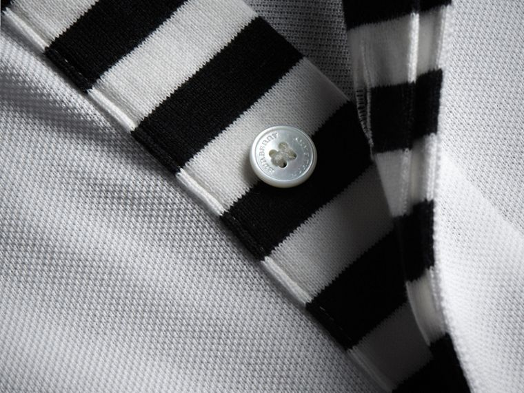 Striped Placket Cotton Piqué Polo Shirt in White - Men | Burberry - cell image 1