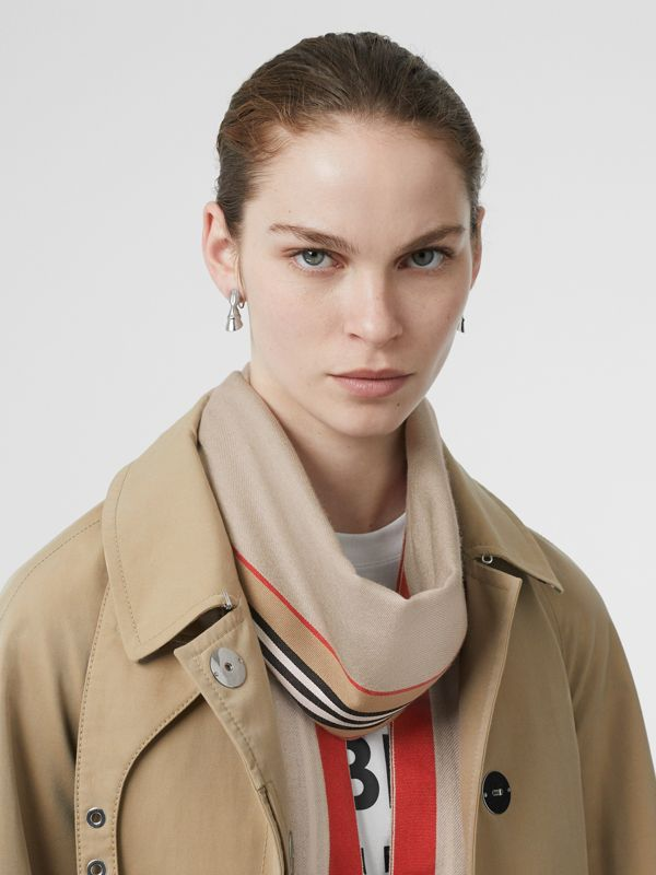 Icon Stripe Cashmere Silk Scarf in Stone | Burberry - cell image 2
