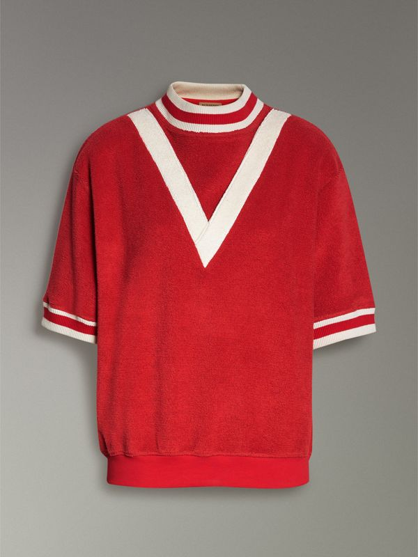 Stripe Detail Cotton Terry Top in Military Red - Women | Burberry - cell image 3