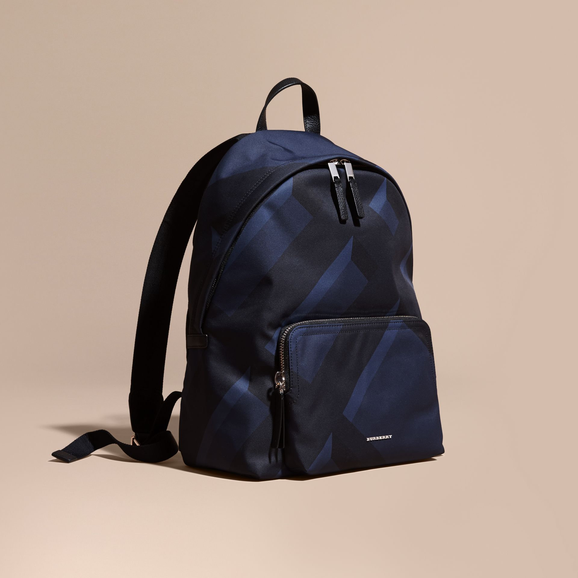 Navy check Leather Trim Check Print Backpack - gallery image 1