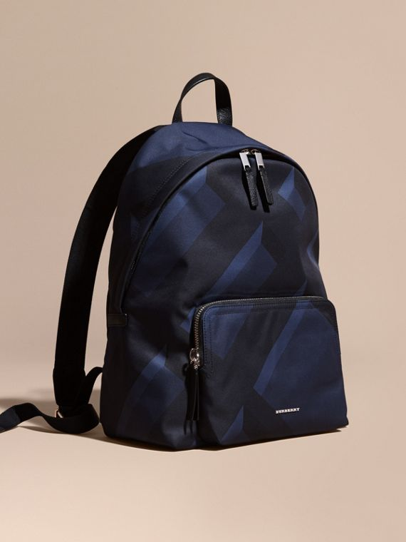 Leather Trim Check Print Backpack