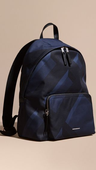 Leather-trimmed Printed Backpack