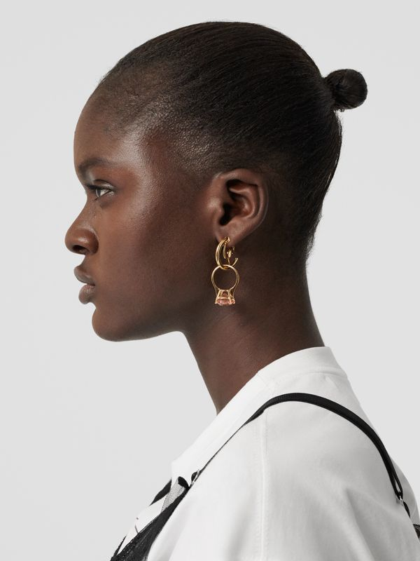 Crystal Ring Detail Gold-plated Hoop Earrings in Light Gold/pink - Women | Burberry United Kingdom - cell image 2