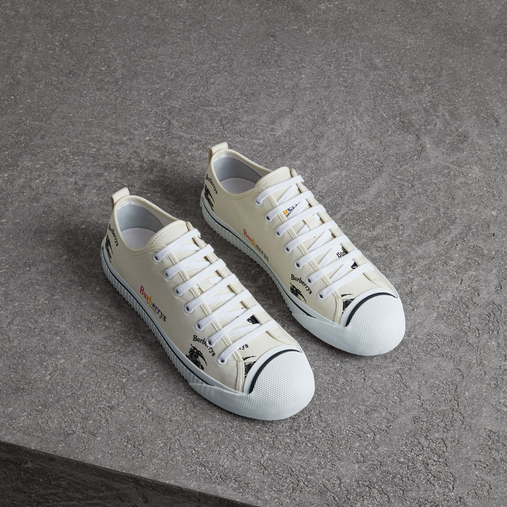 Archive Logo Cotton Gabardine Sneakers in Off White | Burberry - gallery image 0