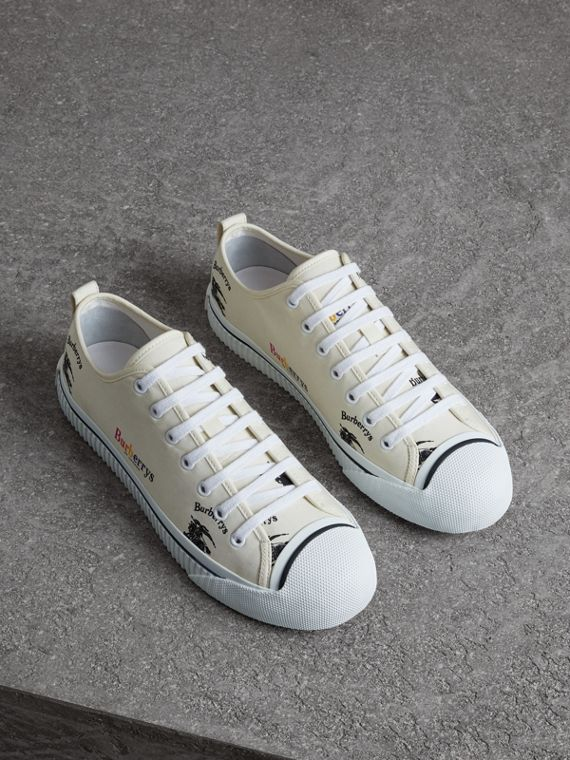 Archive Logo Cotton Gabardine Sneakers in Off White