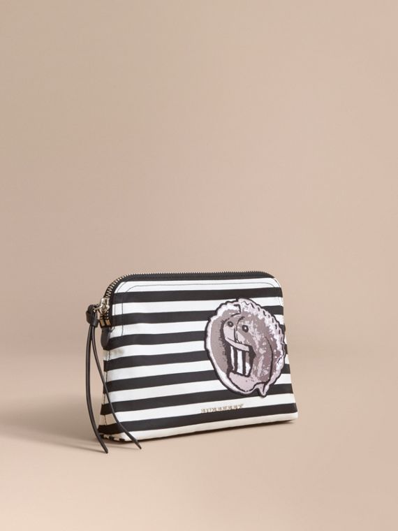 Large Striped Pouch with Pallas Heads Appliqué