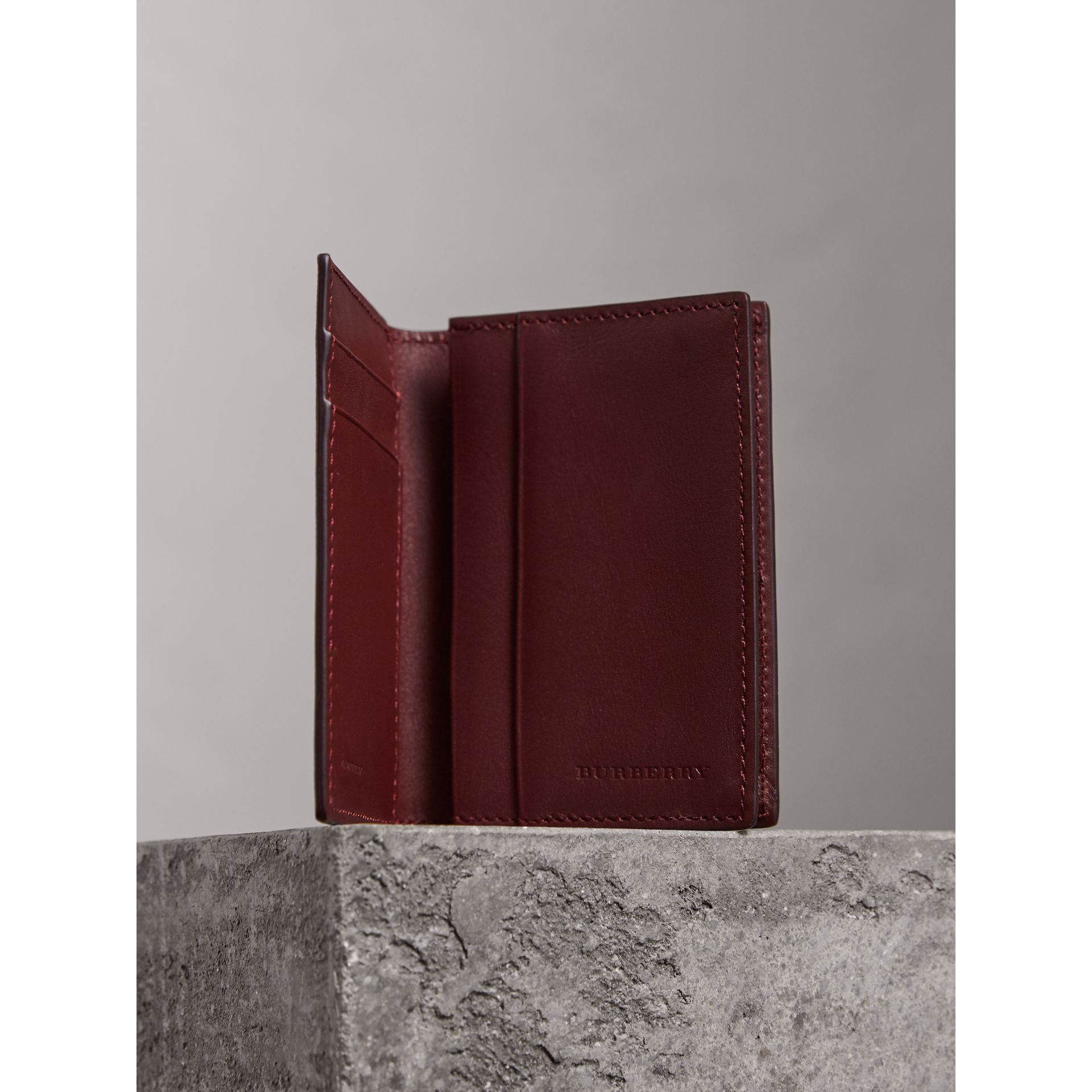 London Leather Folding Card Case in Burgundy Red | Burberry Canada - gallery image 3