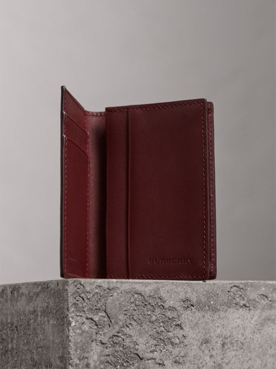London Leather Folding Card Case in Burgundy Red - Men | Burberry - cell image 3