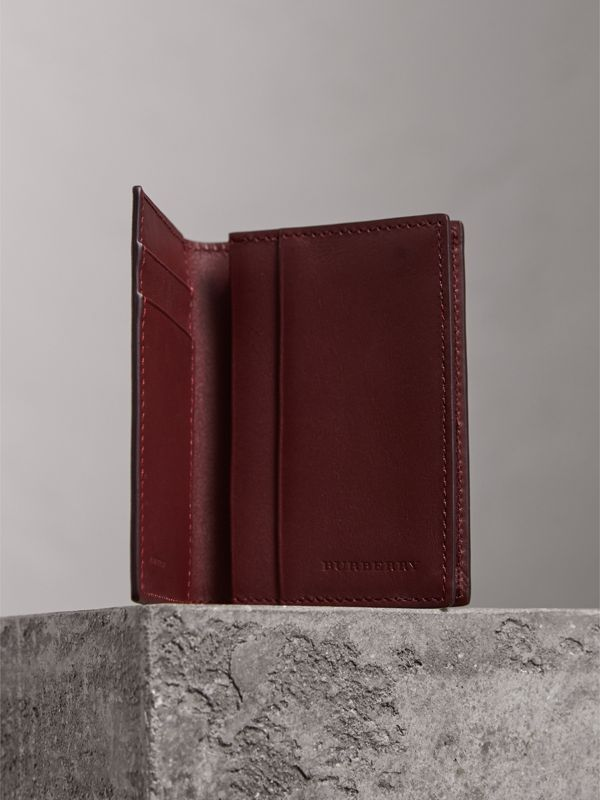 London Leather Folding Card Case in Burgundy Red | Burberry - cell image 3