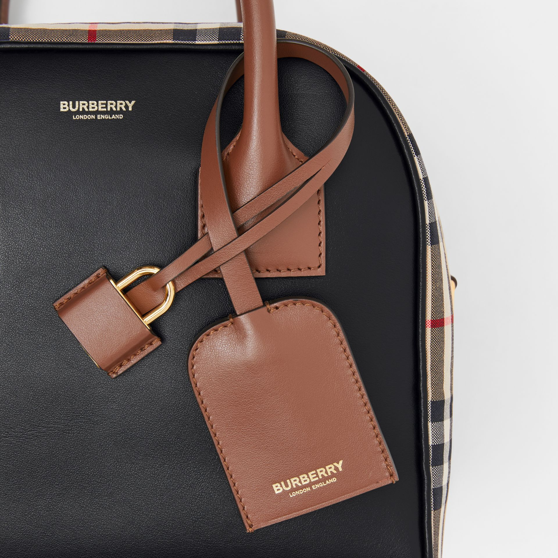 Small Leather and Vintage Check Cube Bag in Archive Beige - Women | Burberry - gallery image 6