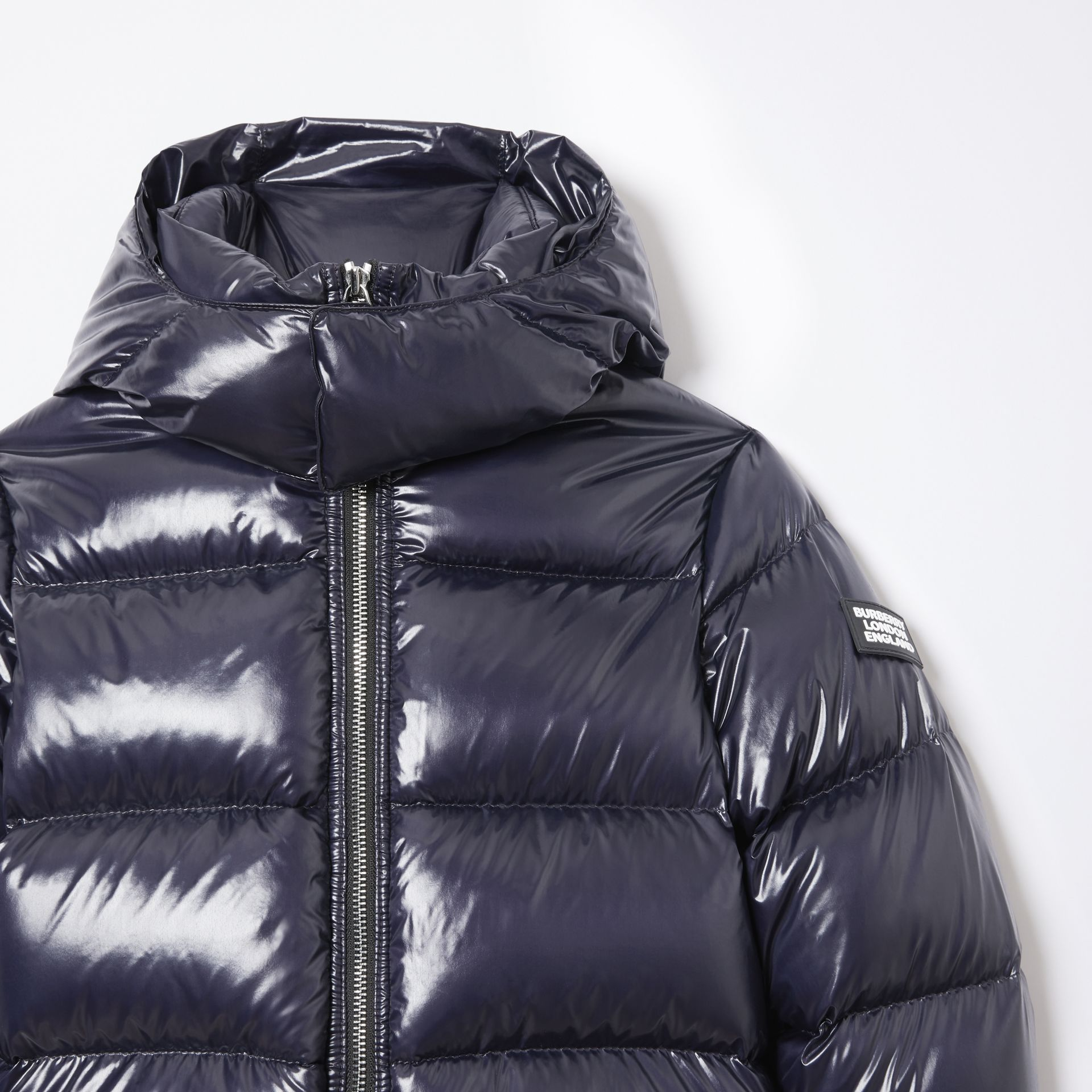 Icon Stripe Detail Down-filled Hooded Puffer Jacket in Bright Navy | Burberry - gallery image 5