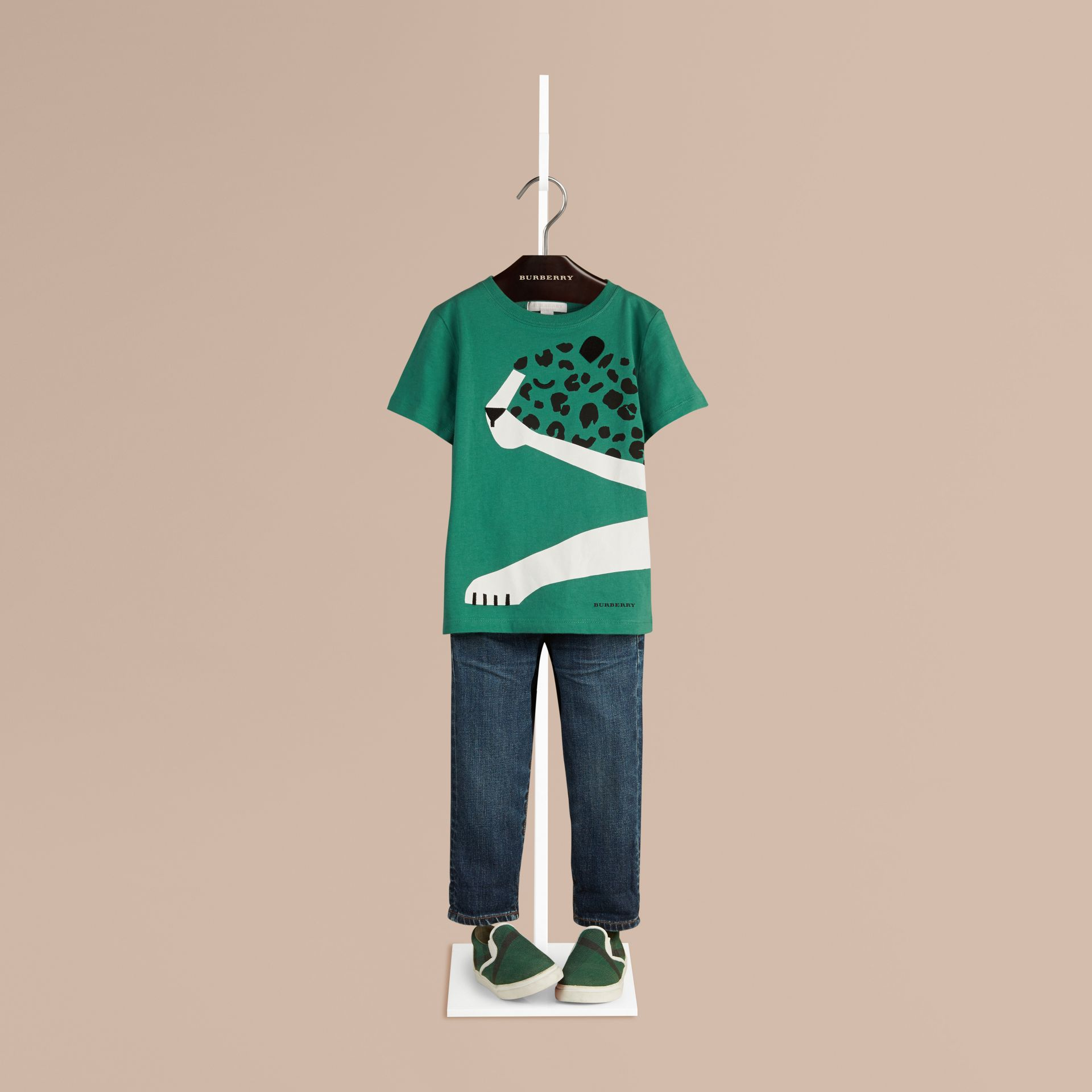 Storm green Cheetah Graphic Cotton T-shirt Storm Green - gallery image 1