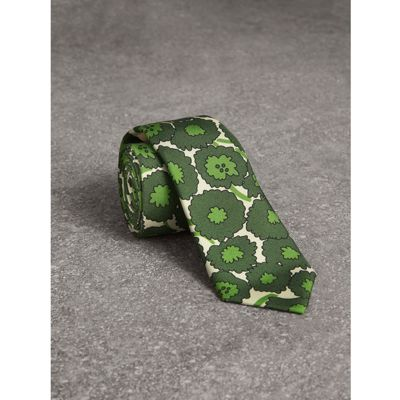 Mince Coupe Cravate Abstraite De Soie Imprimé Floral - Vert Burberry 91EMMxZPze