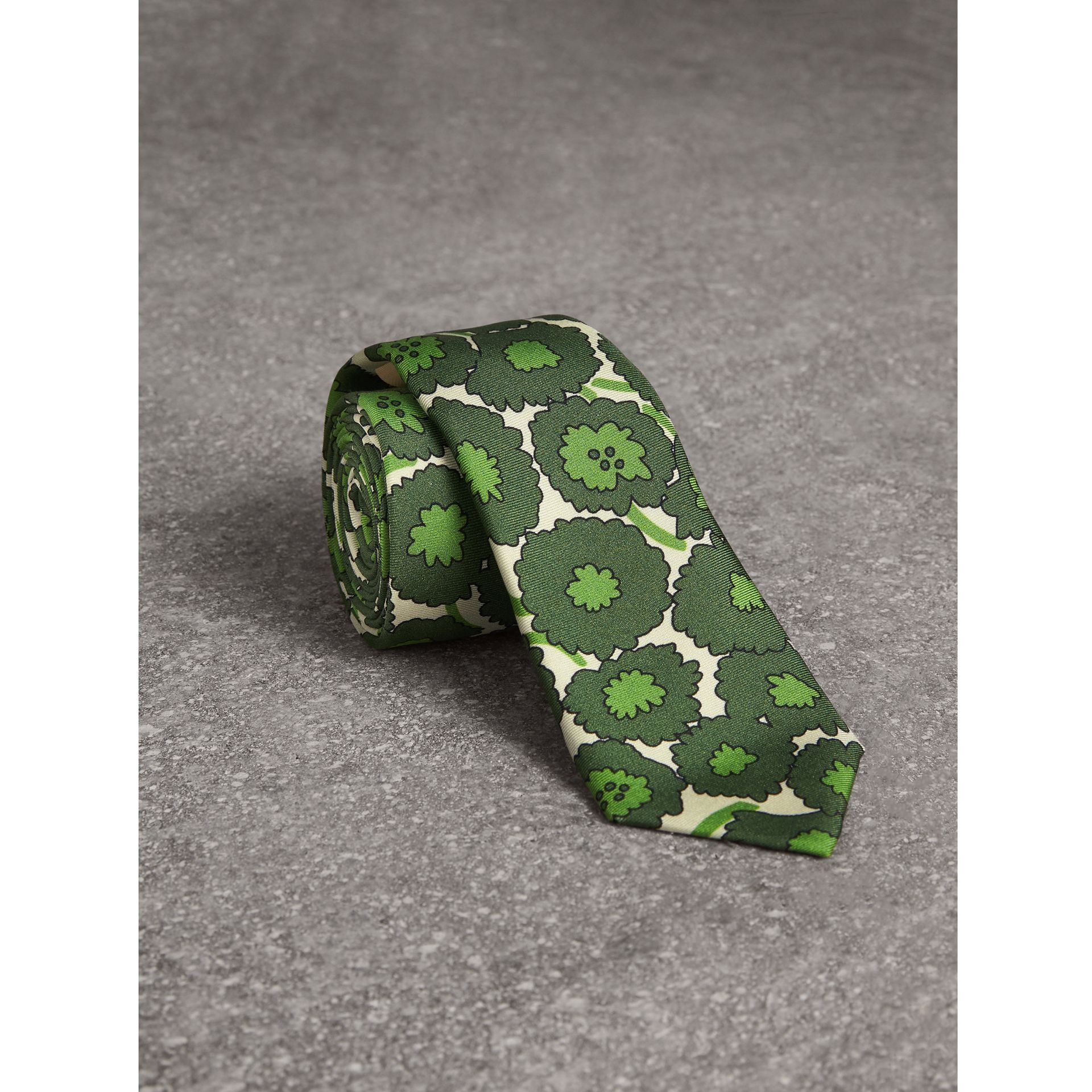 Slim Cut Abstract Floral Print Silk Tie in Tourmaline Green - Men | Burberry - gallery image 0